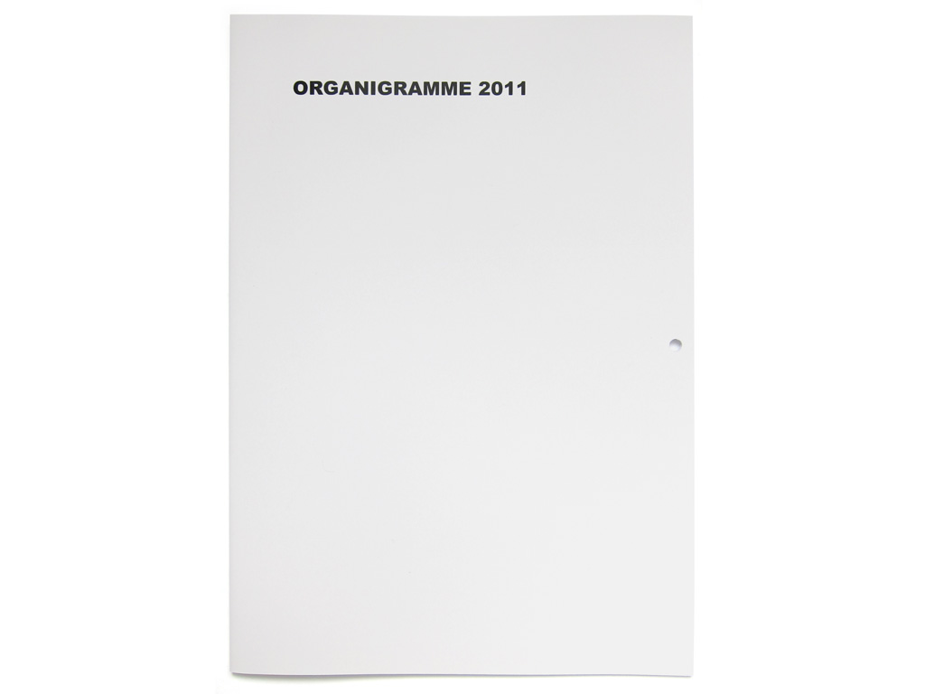 Claude Closky, 'Organigramme 2011 [organization chart]', 2010, Paris: Galerie Laurent Godin. Laser print, 24 pages, 29,7 x 21 cm.