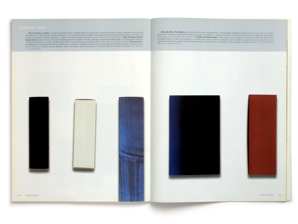Claude Closky, 'Fragrances', 2001, Paris: Depeche Mode #154 (December), pp. 104-109.