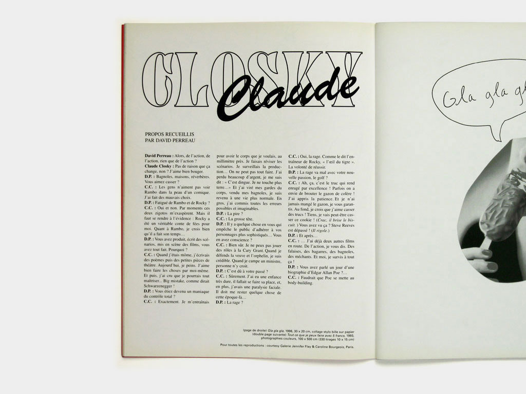 Claude Closky, 'Interview by David Perreau,' 1996, Roubaix: Editions de l'association Triple Axel, in 'Triple axel,' p. 14-17.