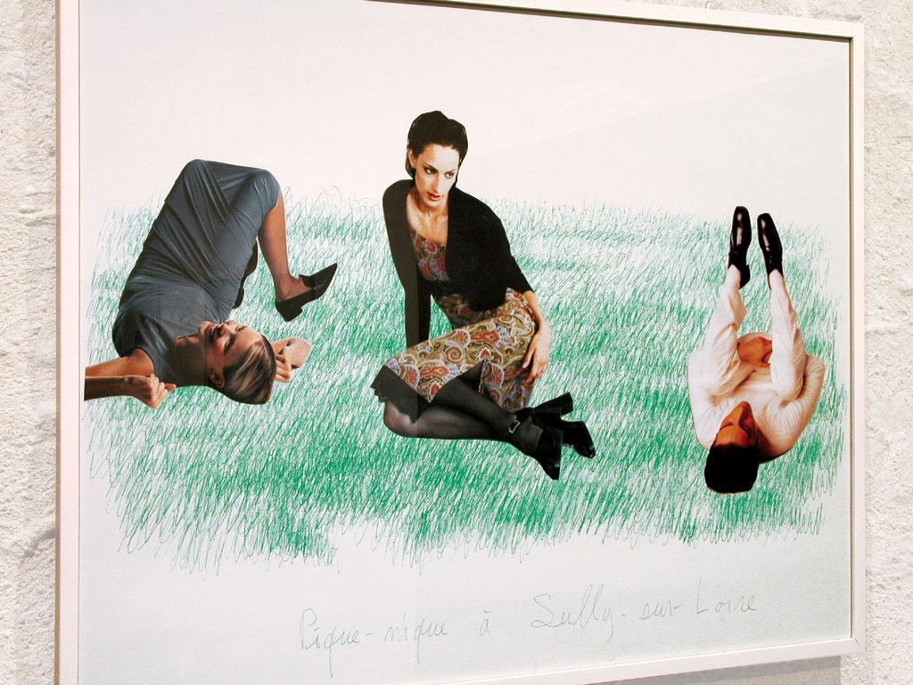 Claude Closky, 'Picnic at Sully-sur-Loire 1', 2000, green ballpoint pen and collage on paper, 60 x 80 cm. Exhibition view Domaine de Kerguéhennec Centre d'Art Contemporain, Bignan. 5 April - 15 June 2003. Curated by Frédéric Paul