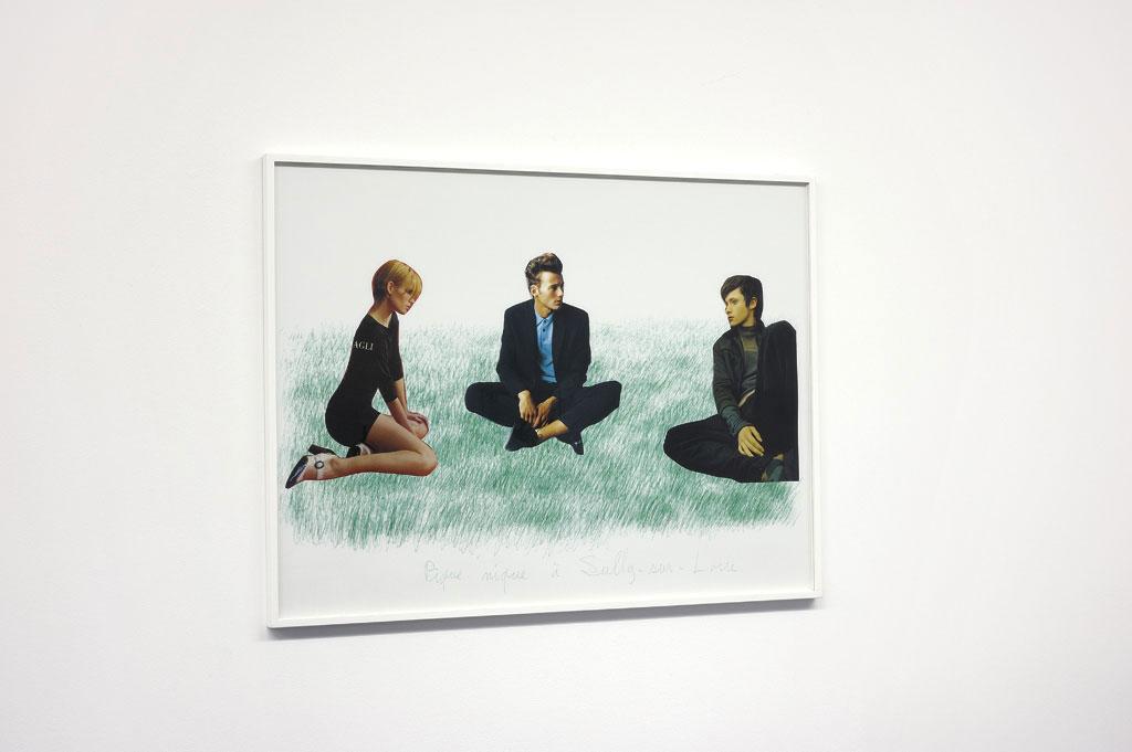 Claude Closky, 'Picnic at Sully-sur-Loire 3', 2000, green ballpoint pen and collage on paper, 60 x 80 cm. Exhibition view Domaine de Kerguéhennec Centre d'Art Contemporain, Bignan. 5 April - 15 June 2003. Curated by Frédéric Paul
