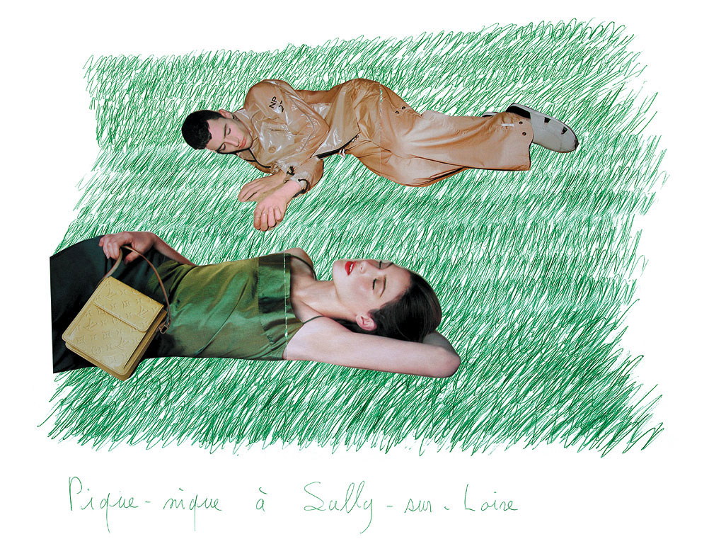 Claude Closky, 'Picnic at Sully-sur-Loire 4', 2000, green ballpoint pen and collage on paper, 60 x 80 cm.