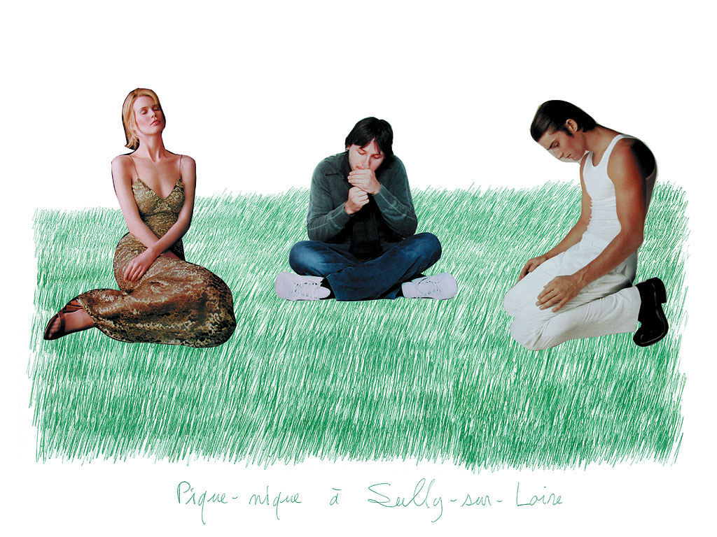 Claude Closky, 'Picnic at Sully-sur-Loire 5', 2000, green ballpoint pen and collage on paper, 60 x 80 cm.