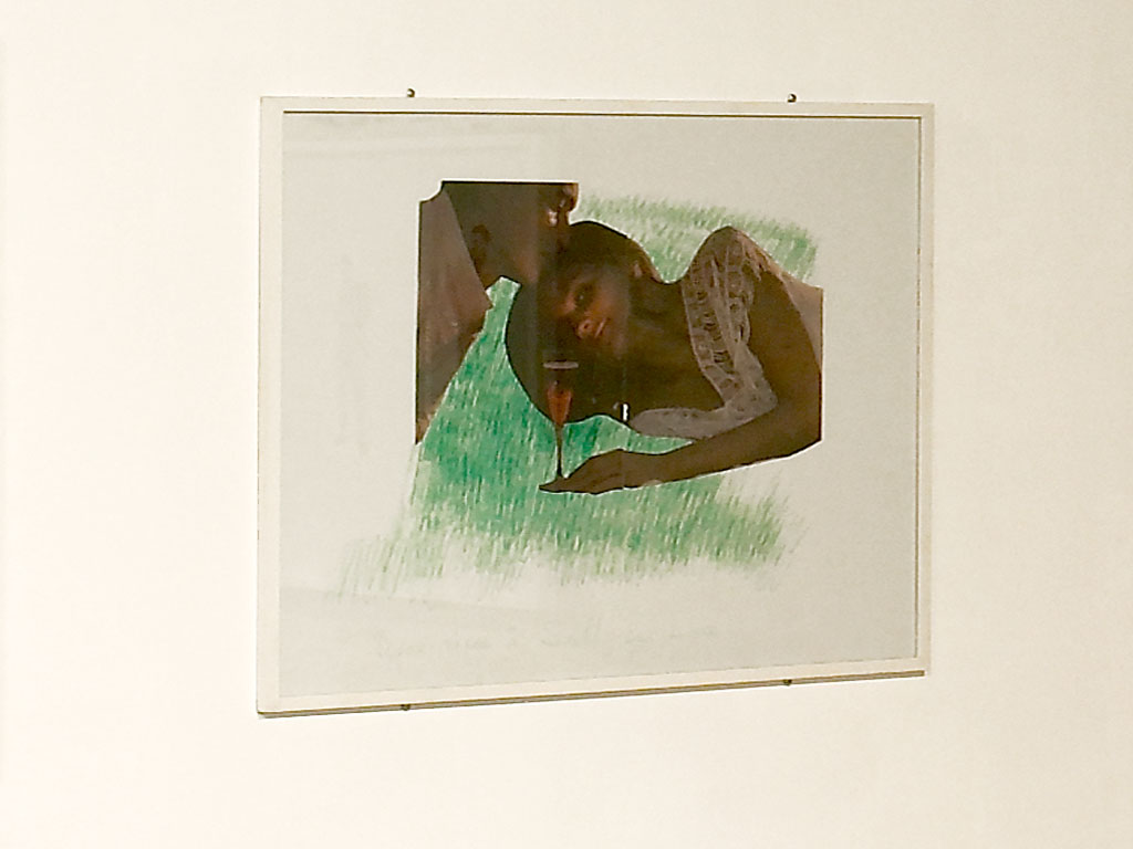 Claude Closky, 'Picnic at Sully-sur-Loire 6', 2000, green ballpoint pen and collage on paper, 60 x 80 cm. Exhibition view 'Chers Amis', Domaine de Kerguéhennec Centre d'Art Contemporain, Bignan. 1 July - 1 October 2006. Curated by Frédéric Paul.