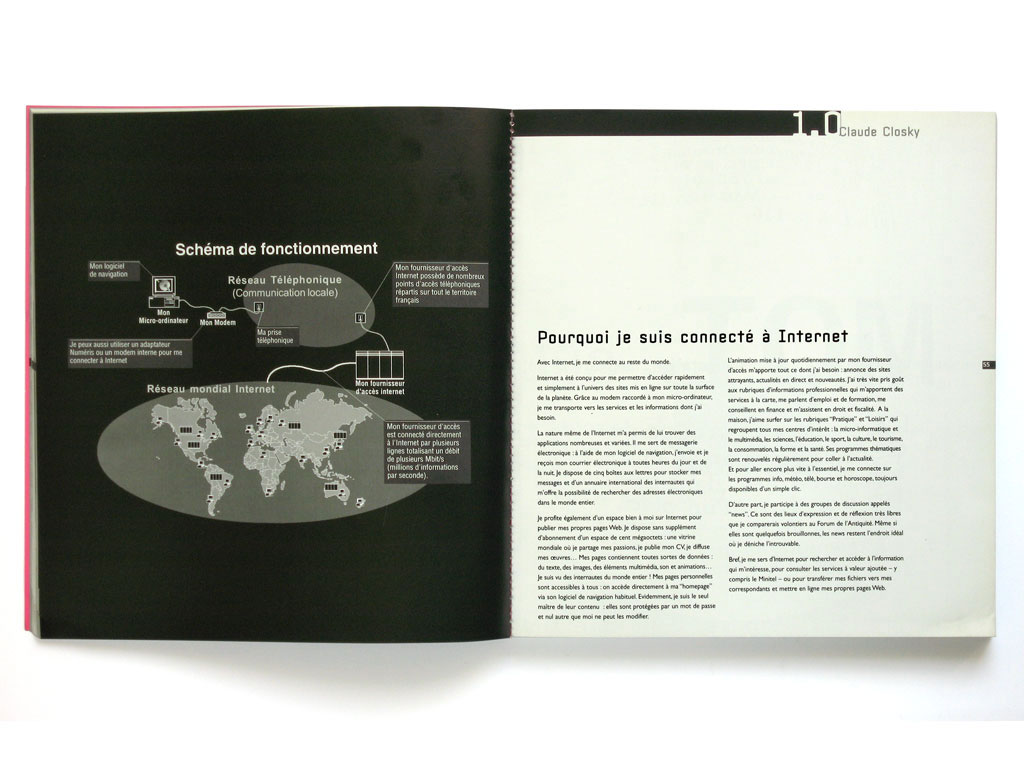 Claude Closky, 'Pourquoi je suis connecté à Internet [Why I am connected to Internet]', 2000, Paris: éc/art S, #2 (September), pp. 54-55.