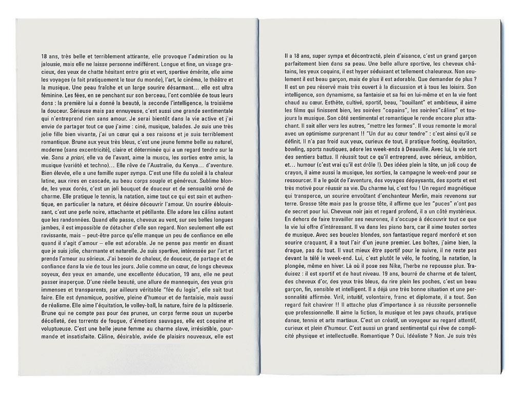 Claude Closky, 'Profils de célibataires [singles],' 1995, Montpellier: Frac Languedoc-Roussillon. Black offset, 80 pages, 21 x 15 cm.