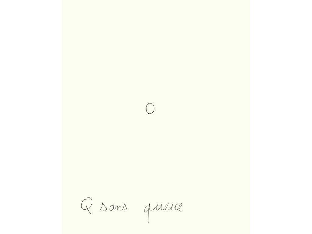 Claude Closky, 'Q sans queue [Q without a tail]', 1996, black ballpoint pen on paper, 30 x 24 cm.