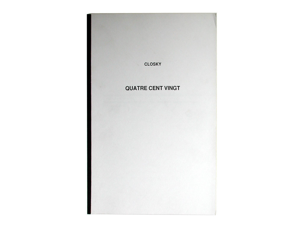 Claude Closky, 'Quatre cent vingt [Four hundred twenty]', 1989, artist's publication, b&w photocopy, 164 pages, 29,7 x 21 cm.