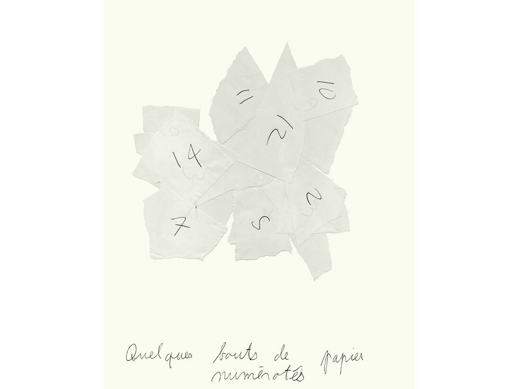Claude Closky, 'Quelques bouts de papier numérotés [numbered pieces of papers]', 1990, ballpoint pen on paper, 30 x 24 cm.