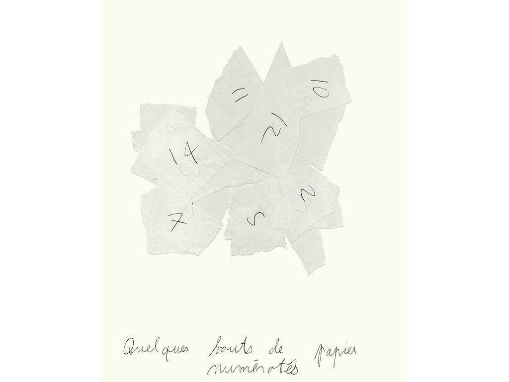 Claude Closky, 'Quelques bouts de papier numérotés [numbered pieces of papers]', 1990, ballpoint pen on paper, 30 x 24 cm.