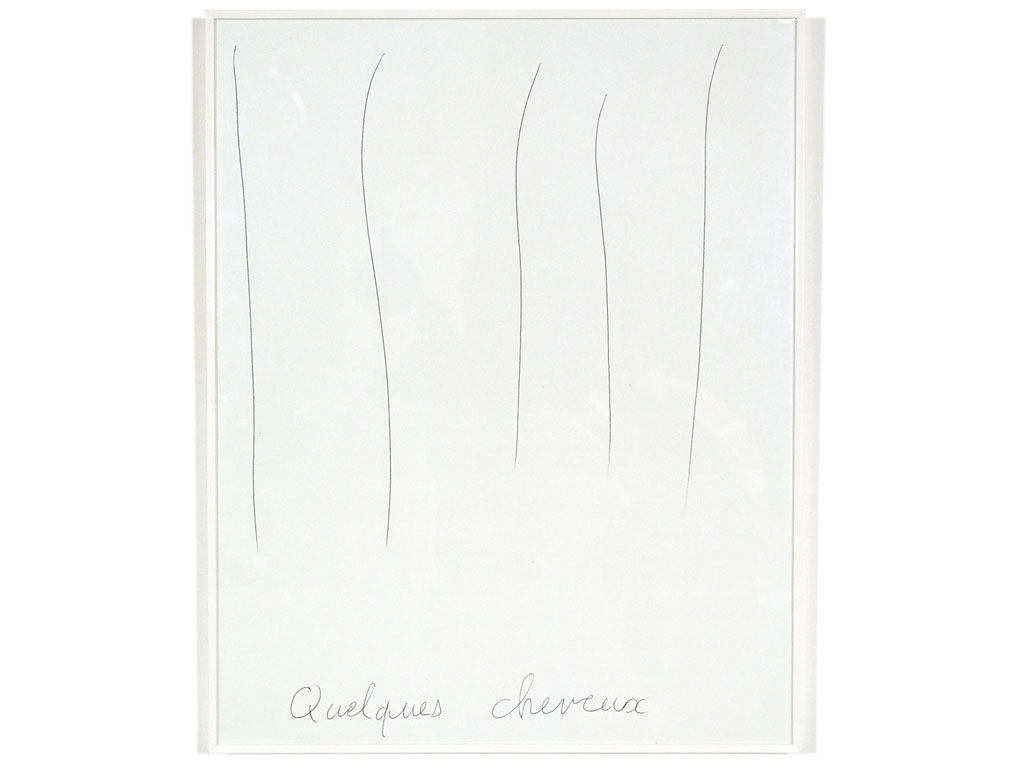 Claude Closky, 'Quelques cheveux [a few strands or hair]', 1991, ballpoint pen on paper, 30 x 24 cm.