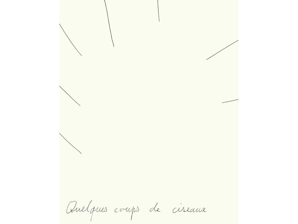 Claude Closky, 'Quelques coups de ciseaux [a few scissor cuts]', 1990, ballpoint pen on paper, 30 x 24 cm.