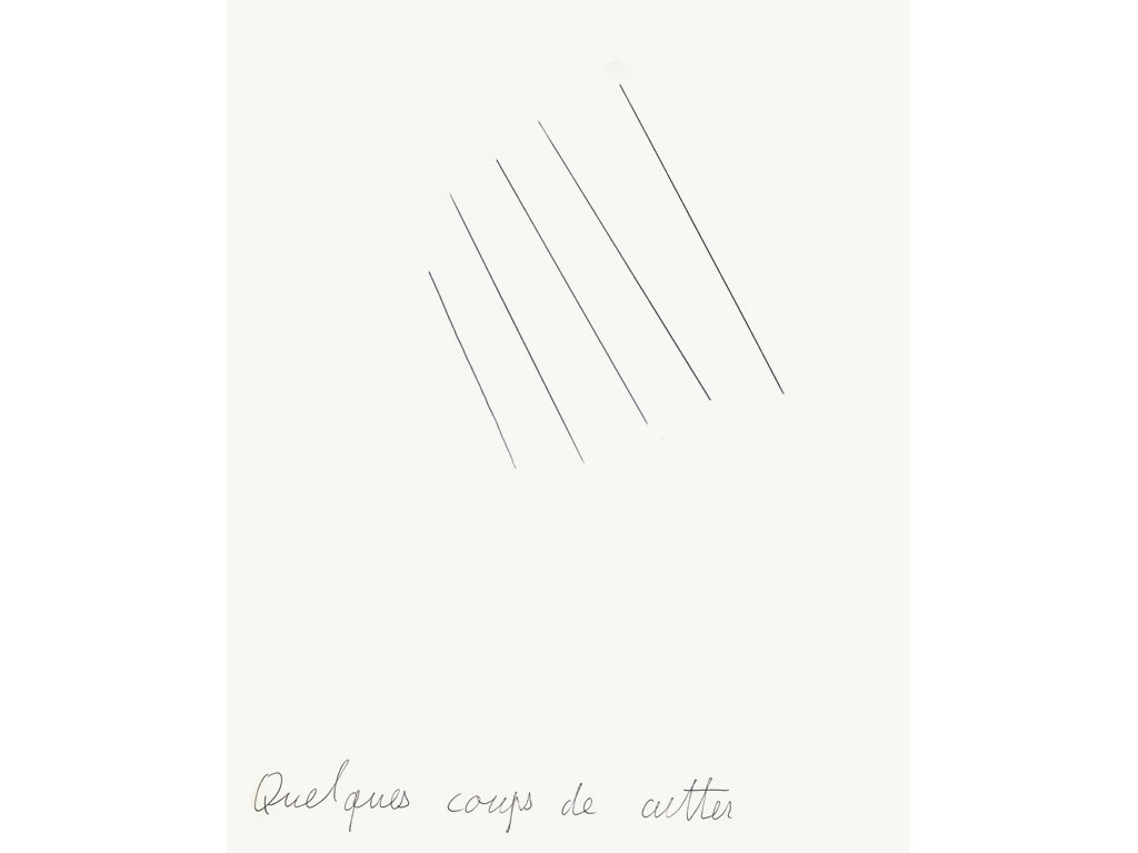 Claude Closky, 'Quelques coups de cutter [a few cutter cuts]', 1990, ballpoint pen on paper, 30 x 24 cm.