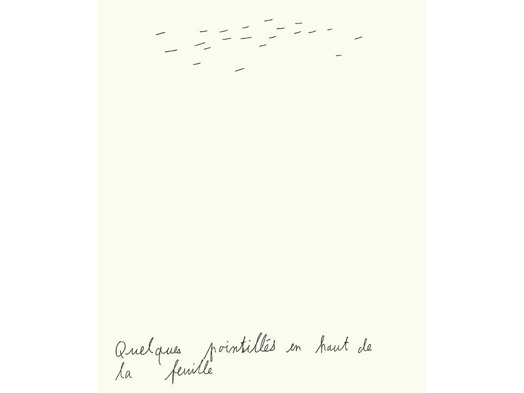 Claude Closky, 'Quelques pointillés en haut de la feuille [a few dashes at the top of the page]', 1990, ballpoint pen on paper, 30 x 24 cm.