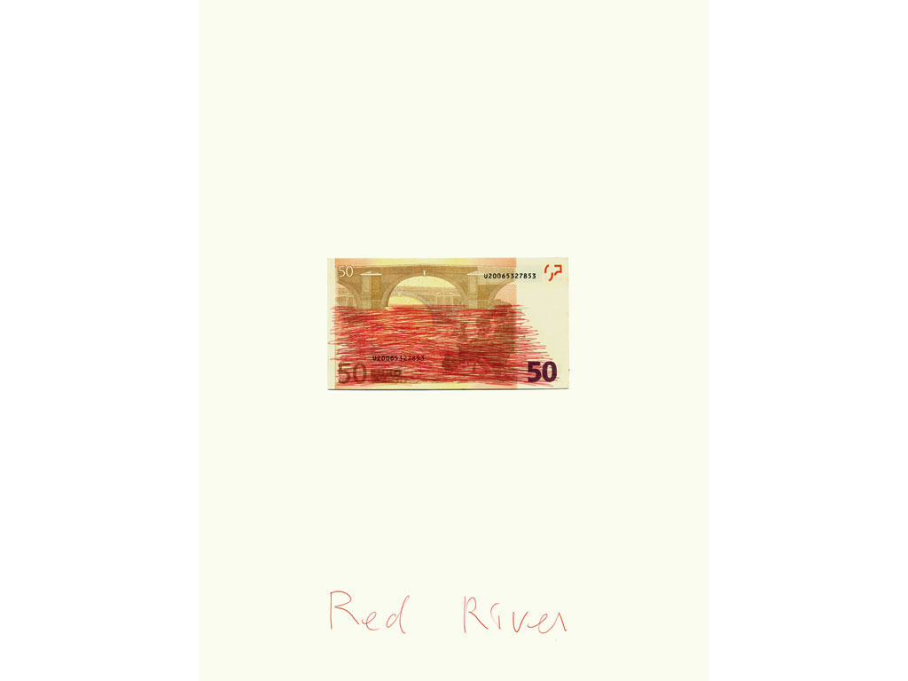 Claude Closky, 'Red River', 2007, blue ballpoint pen, bank note, 40 x 30 cm.