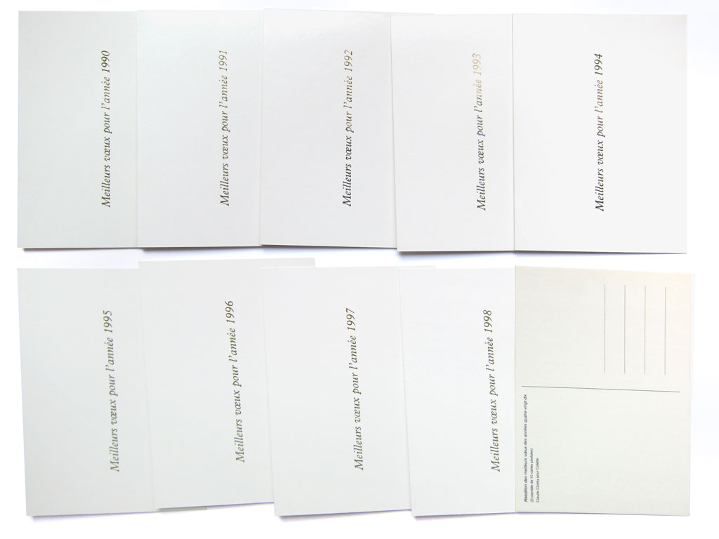 Claude Closky, 'Réédition des meilleurs vœux des années quatre-vingt-dix [Best wishes of the Nineties republished],' 1999, Paris: Colette. Greeting cards. Two color offset, 10 cards 105 x 150 mm each.