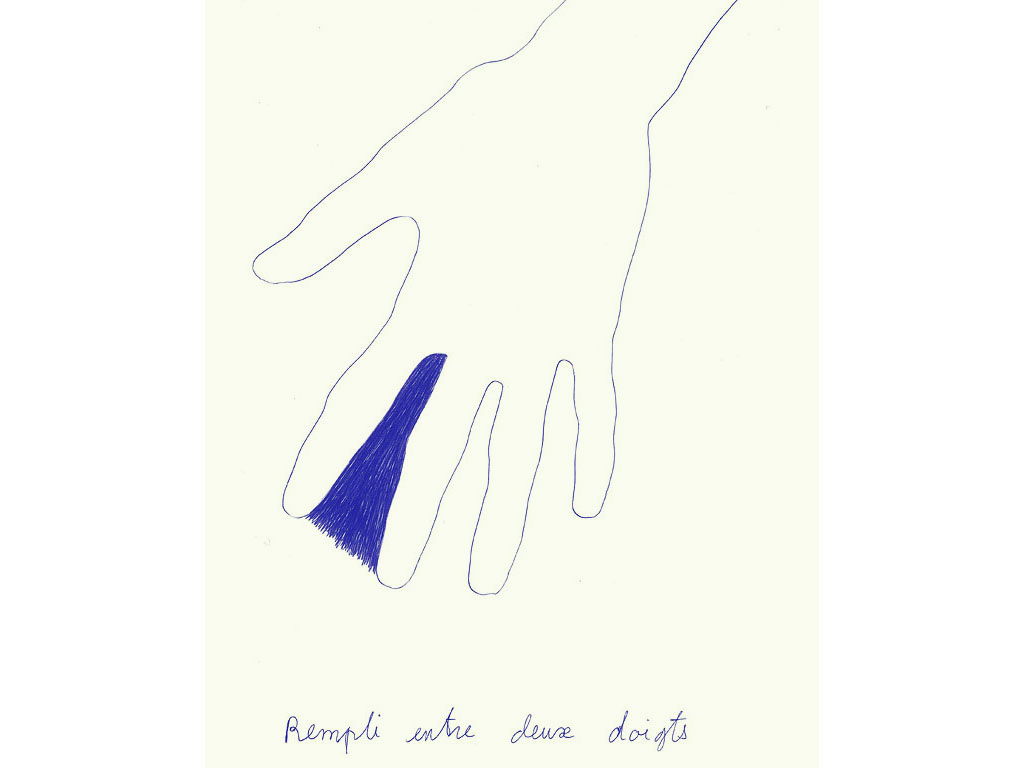 Claude Closky, 'Rempli entre deux doigts [Filled-in between two fingers]', 1991, blue ballpoint pen on paper, 30 x 24 cm.
