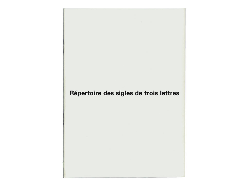 Claude Closky, 'Répertoire des sigles de trois lettres [Index of all three letters logos]', 1999, artist's publication, b&w photocopy, 40 pages, 21 x 15 cm.