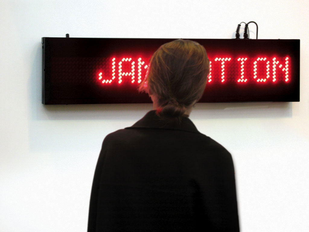 Claude Closky, 'Revolution', 2006, electronic led sign, red diodes, computer, 28 x 118 x 10 cm, unlimited duration.