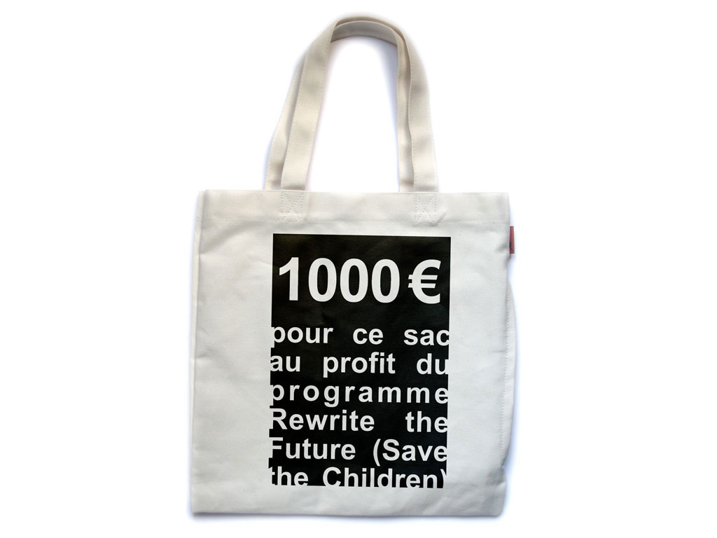 Claude Closky, 'Untitled (Save the Children),' 2007, for the benefit of Save the Children organization. Bag, transfer, 75 x 50 cm.