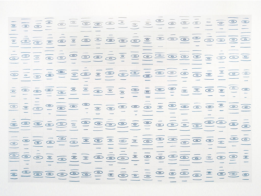 Claude Closky, 'Ricochets', 1998, blue phtalo ink on paper, 355 x 624 cm (240 sheets 35 x 25,5 cm). Exhibition view 'Les aoûtiens', Galerie Jennifer Flay, Paris. 10 September - 28 October 1998