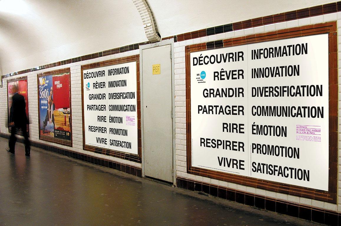 Claude Closky, 'Rire/Emotion [Laugh/Emotion]', 2001, advertisement campaign on subway billboards in Paris. Paris: bookshop & Les Amis du musée d'art moderne de la ville de Paris, 150 x 200 cm.
