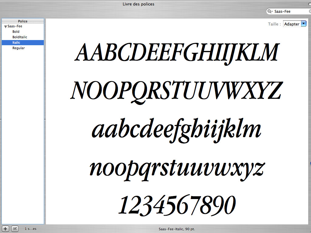Claude Closky, 'Saas-Fee', 2003, Postscript font (Mac & PC), Regular, Italic, Bold, Bold Italic.