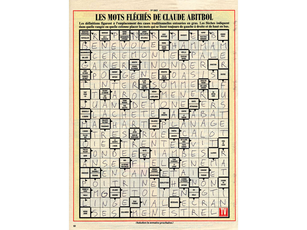 Claude Closky, 'Untitled (arrowwords, bénévole)', 1992, ballpoint pen on printed matter, 29 x 22,5 cm.