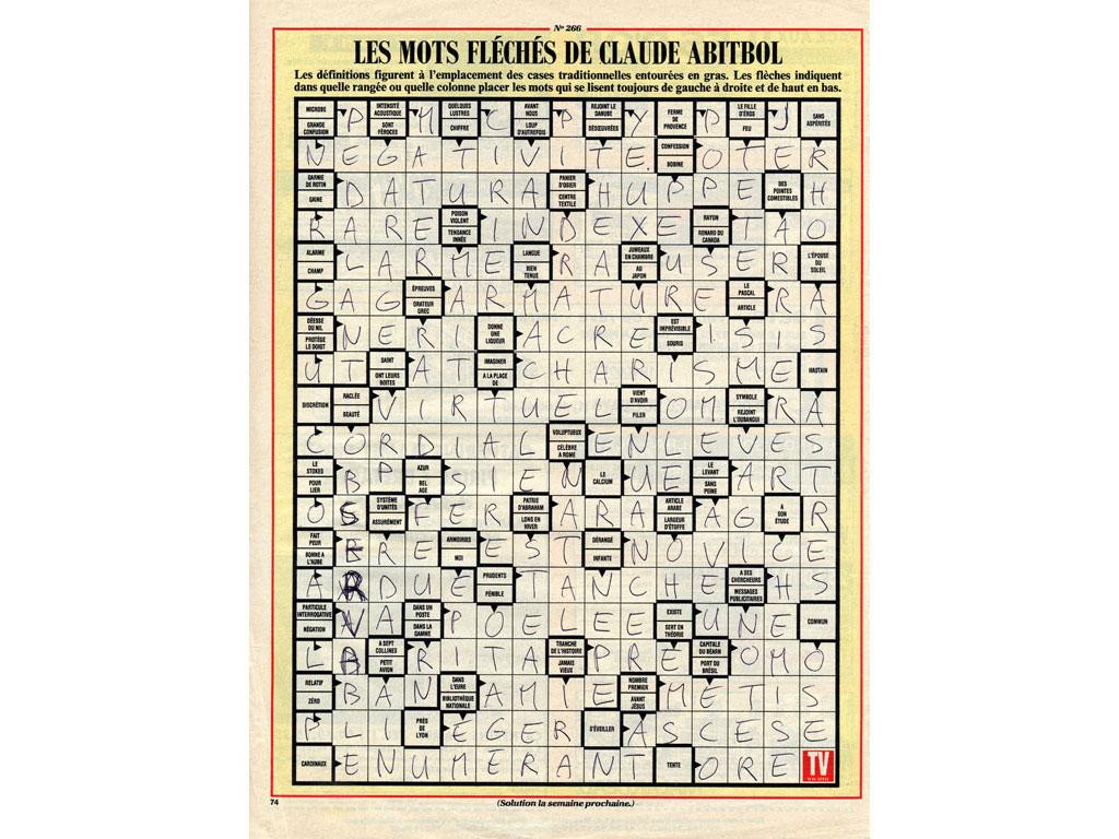 Claude Closky, 'Untitled (arrowwords, négativité)', 1992, ballpoint pen on printed matter, 29 x 22,5 cm.
