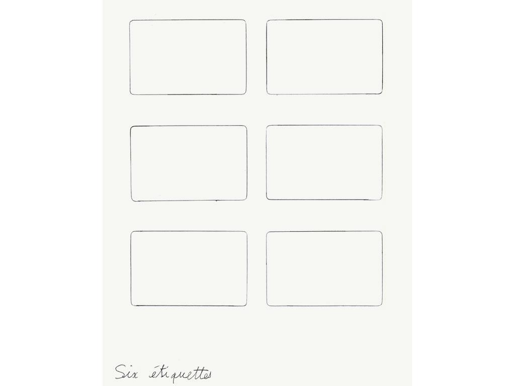 Claude Closky, 'Six étiquettes [Six label]', 1991, ballpoint pen on paper, 30 x 24 cm.