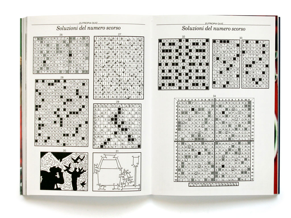 Claude Closky, 'Soluzioni del numero scorso [Past issue solutions]', 2001, Roma: Eutropia magazine #1 (June), pp. 139-144.