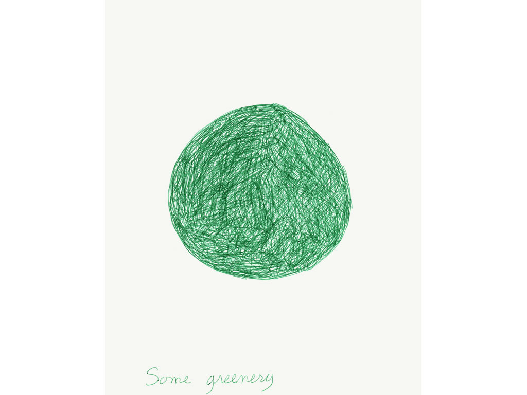 Claude Closky, 'Some Greenery', 1991, ballpoint pen on paper, 30 x 24 cm.