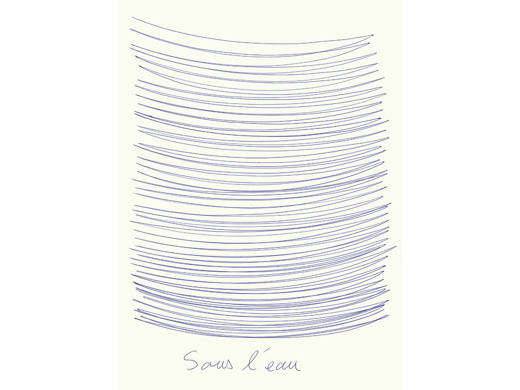 Claude Closky, 'Sous l'eau - Sous terre [Under Water - Under Ground]', 2007, blue and black ballpoint on paper, diptyque, twice 35 x 25,5 cm.