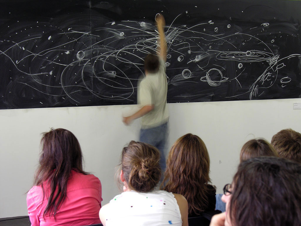 Claude Closky, 'Blackboard,' 2006, performance, invited by Stéphanie Moisdon for 'Stéphanie's School,' Grand Palais, Paris (23 June). With Eluart Barajas, Julie Darribère, Rodolphe Delaunay, Marjan Denkov, Antoine Desailly, Claire Fouquet, Anne Le Henaf, Sébastien Loghman, Luis Nieto, Asami Nishimura, Gabriel Peyre, Clément Plessier, Wangfei Qu, Luc Schuhmacher, Florian Sicard, Daniela Serguieva, Min Hong Sun, Pierre Tectin.