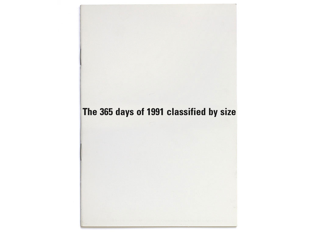 Claude Closky, 'The 365 days of 1991 classified by size', 1991-1992, artist's publication, b&w photocopy, 16 pages, 21 x 15 cm.