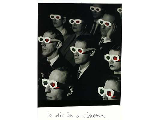 Claude Closky, 'To die in a cinema', 2009, collage and ball-point pen on paper, 30 x 21 cm.