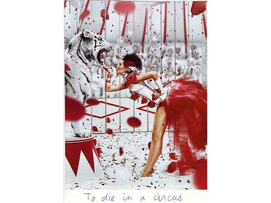 Claude Closky, 'To die in a circus', 2009, collage and ball-point pen on paper, 30 x 21 cm.