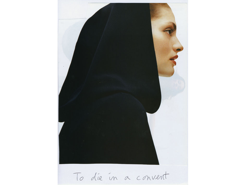 Claude Closky, 'To die in a convent', 2009, collage and ball-point pen on paper, 30 x 21 cm.