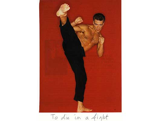 Claude Closky, 'To die in a fight', 2009, collage and ball-point pen on paper, 30 x 21 cm.