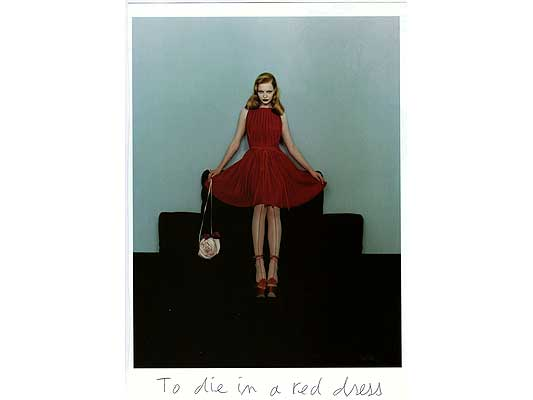Claude Closky, 'To die in a red dress', 2009, collage and ball-point pen on paper, 30 x 21 cm.