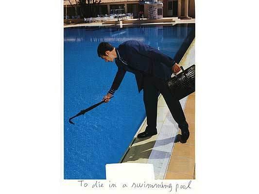 Claude Closky, 'To die in a swimming pool', 2009, collage and ball-point pen on paper, 30 x 21 cm.