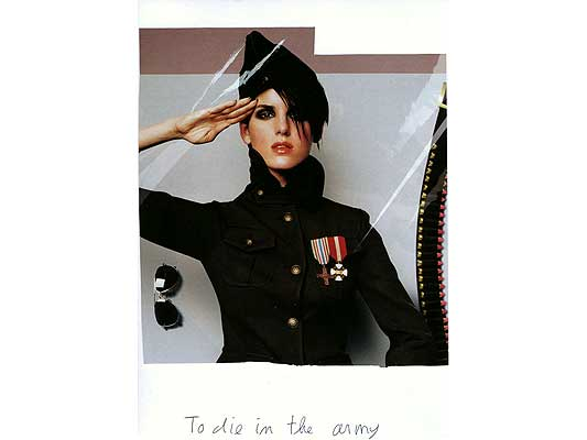 Claude Closky, 'To die in the army', 2009, collage and ball-point pen on paper, 30 x 21 cm.