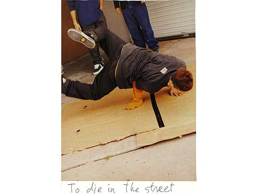 Claude Closky, 'To die in the street', 2009, collage and ball-point pen on paper, 30 x 21 cm.