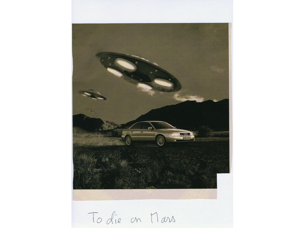 Claude Closky, 'To die on Mars', 2009, collage and ball-point pen on paper, 30 x 21 cm.