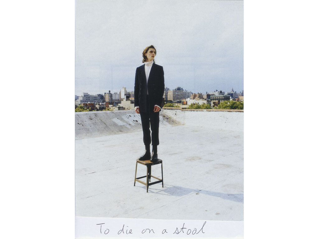 Claude Closky, 'To die on a stool', 2009, collage and ball-point pen on paper, 30 x 21 cm.