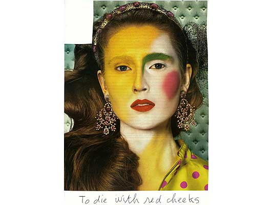 Claude Closky, 'To die with red cheeks', 2009, collage and ball-point pen on paper, 30 x 21 cm.