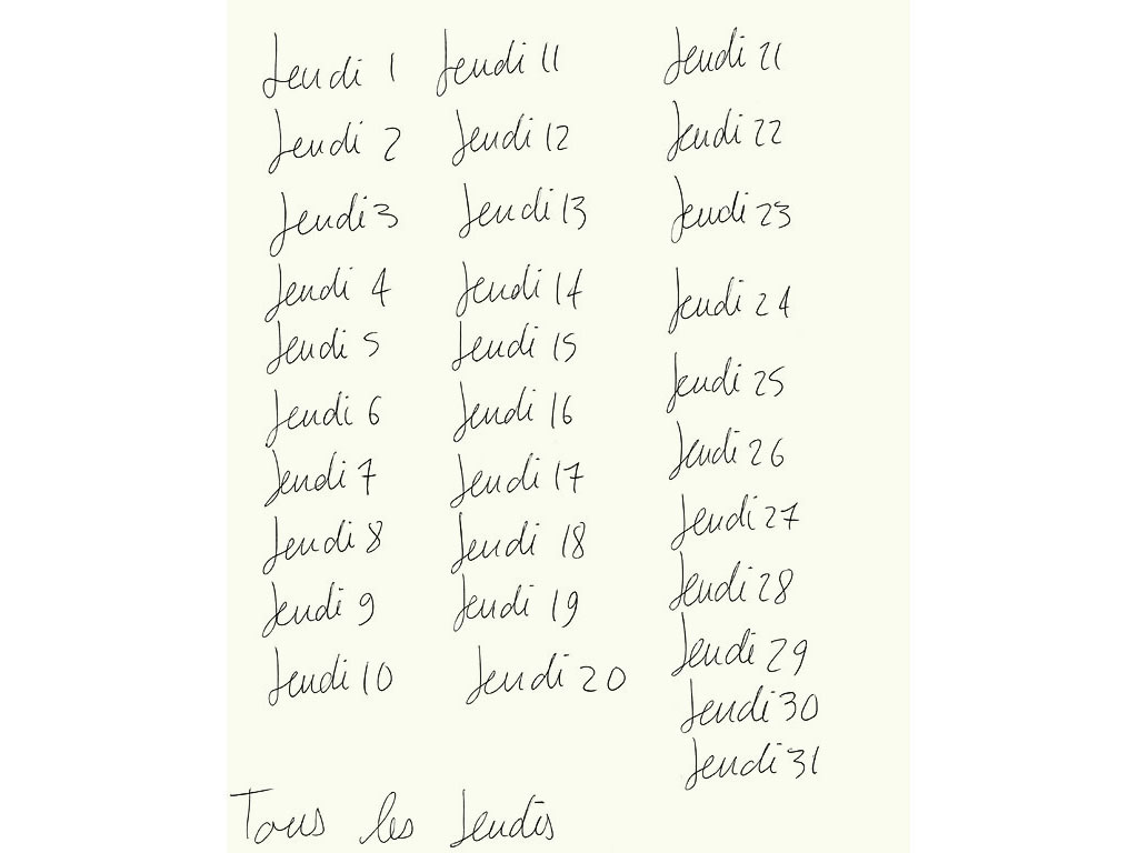 Claude Closky, 'Tous les jeudis [All Thursdays]', 1994, ballpoint pen on paper, 30 x 24 cm.