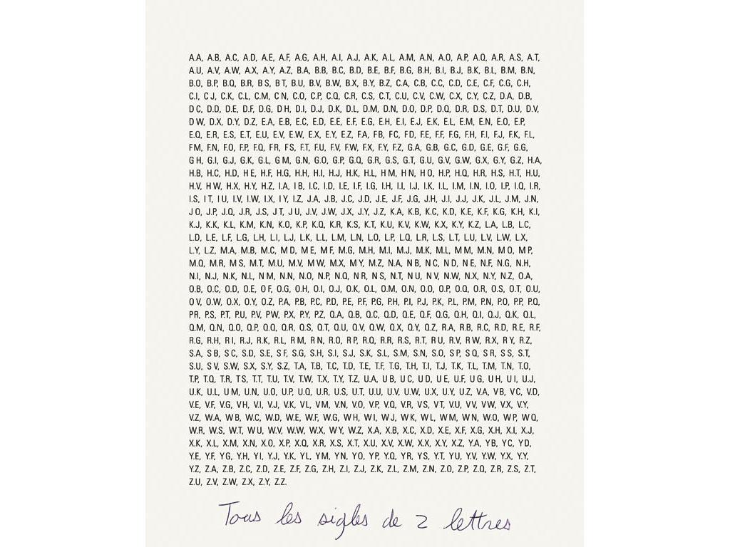 Claude Closky, 'Tous les sigles de 2 lettres [every 2 letter logos]', 1991, ballpoint pen on bromide print, 30 x 24 cm.