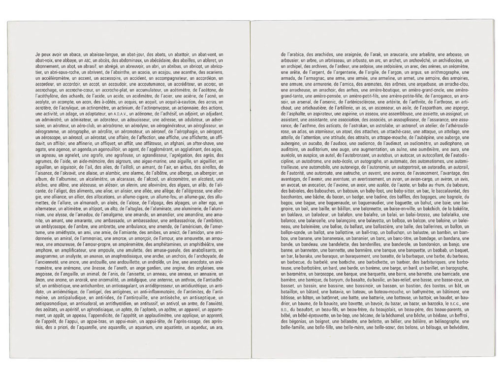 Claude Closky, 'Tout ce que je peux avoir [everything I can have]', 1994, Dôle: Frac Franche-Comté, 24 pages, 21 x 15 cm.