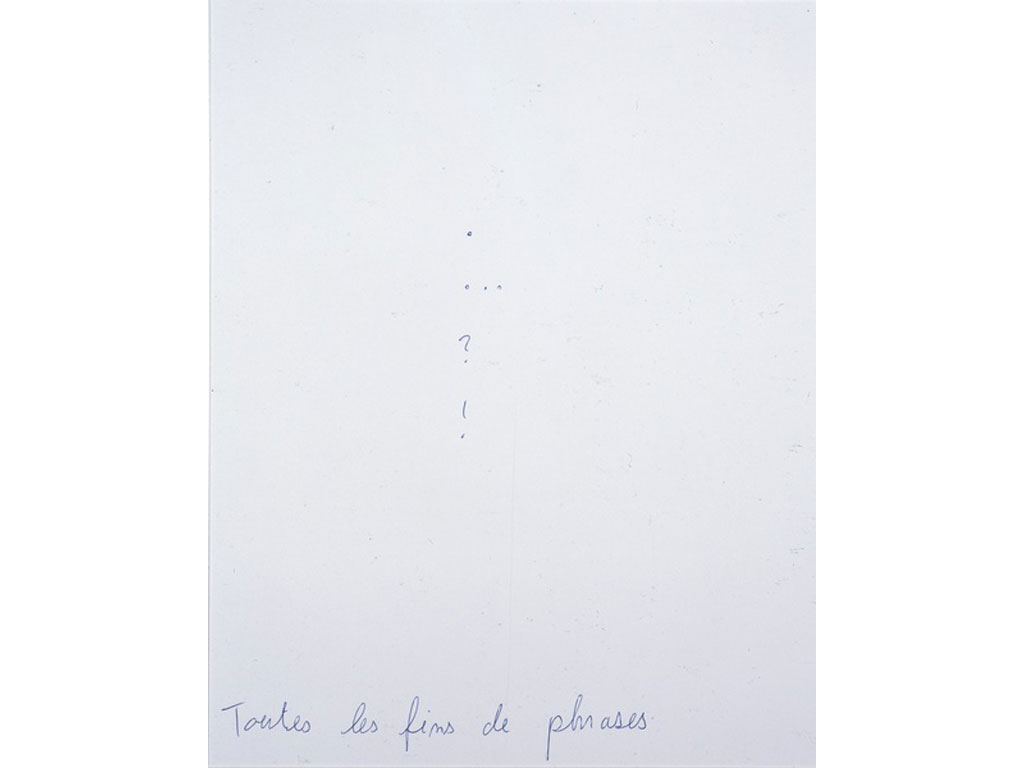 Claude Closky, 'Toutes les fins de phrases [every sentence ends],' 1992, ballpoint pen on paper, 30 x 24 cm.